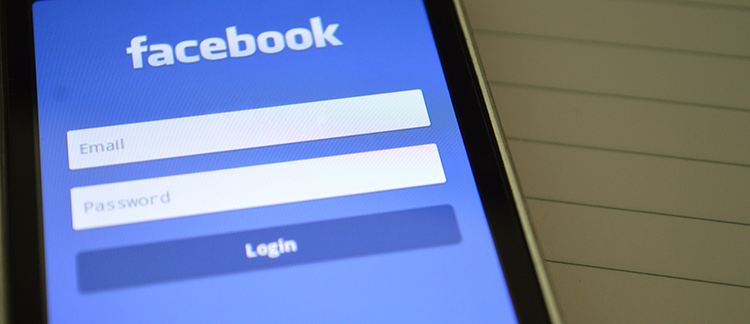 Facebook login screen on mobile phone